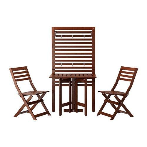 IKEA Wandpaneel Gateleg Tisch & 2 Stühle, Outdoor, braun gebeizt 18202.262611.102