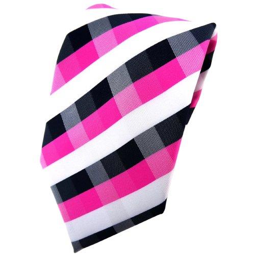 TigerTie schöne Krawatte in pink blau royal weiß kariert - Binder Tie