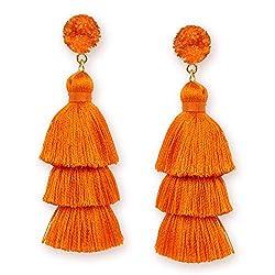 orange, tassel earrings
