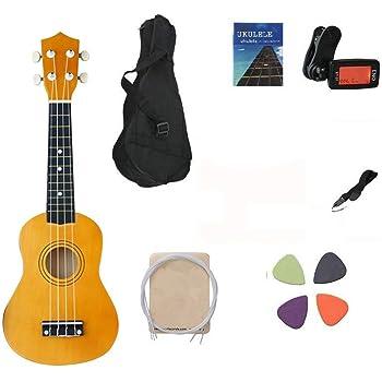 Ukelele soprano, 53 cm; kit de principiantes con estuche de transporte y afinador; color marrón.: Amazon.es: Instrumentos musicales