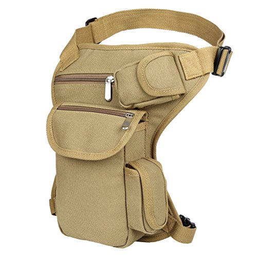 VBG VBIGER Drop Leg Bag Pouch Men's Thigh Bag Tactical Thigh Pack Canvas Outdoor Travel Waist Pack Sports Fanny Pack Bike Motorcycle Cycling Camping Hiking Hip Bag (Khaki)