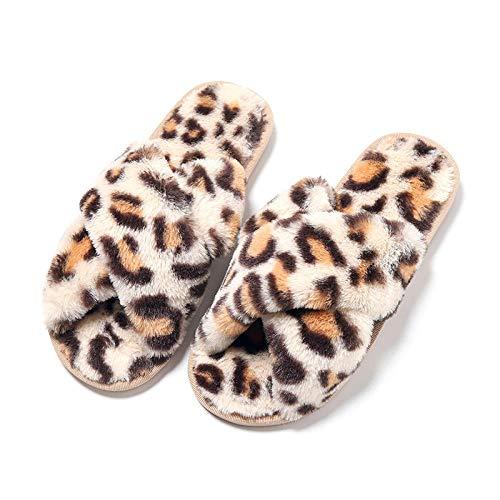 Zapatillas de Estar por casa Mujer Invierno ,Otoño e invierno de interior para mujer zapatillas de felpa con cruz de leopardo @ creamy-white_38-39,Hombre Invierno Pelusa Forro Pantuflas Interior