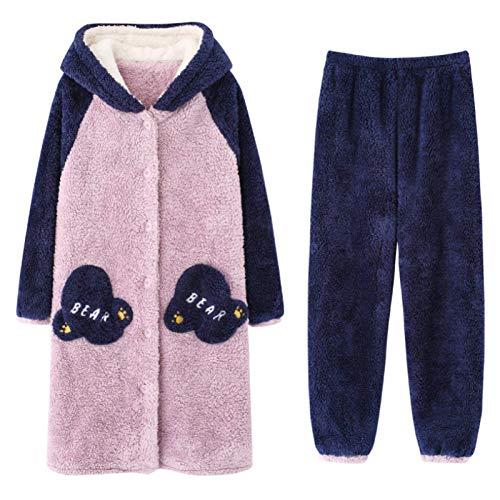 LEYUANA 2 Piezas Invierno Mujer Pijamas Conjuntos Ropa de Dormir Manga Larga cálido Suave M Color12