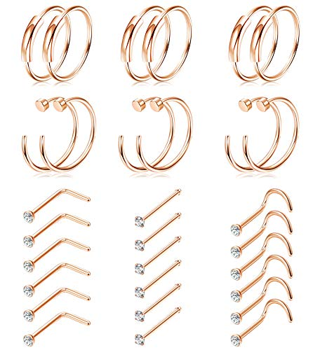 Hanpabum 20G 30PCS Stainless Steel Hoop Nose Stud Rings for Women Men 1.5mm CZ L/S Shaped Body Piercing Jewelry Set