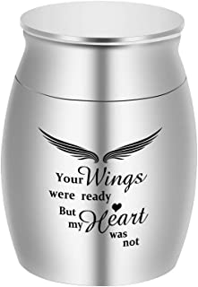 Dletay Small Keepsake Urns for Human Ashes Mini Cremation Urns for Ashes Stainless Steel Memorial Ashes Holder-Your Wings were Ready, But My Heart was Not