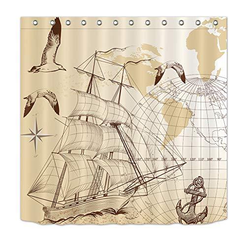 LGY Duschvorhang 180X180Cm. Digital Gedruckte Bilder Sind Lebendiger. Wasserdichter Stoff. Enthält 12 Haken. Haus Dekoration. Skizzieren Sie Segelboote Und Globen.