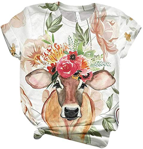 POINWER Women's T-Shirt 3D Animal Print Cow Dog Print T-Shirt Short Sleeve Crew Neck Tee Shirts Tops Summer Tops -  White - XXX-Large