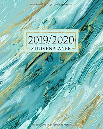 Studienplaner: Semesterplaner | Schulplaner und Akademischer Monatsplaner und Wochenplaner mit Jahresübersicht | Marmor gold Grün
