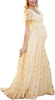 Women's Ruched Floral Lace Maternity Nursing Party Maxi Tank Dress Baby Shower Pregnancy Photography Long Gown Dresses
