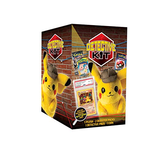 Pokemon TCG: Detective Pikachu Plush Doll Kit- 1 Pikachu Plush Doll | 2 Booster Packs | Chance to find 1st Edition Charizard | Genuine Cards, Multicolor (728192514098)