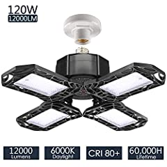 """MORE BRIGHTER - High quality LED chip inside adoption LM-80, total 120W produce 100 lumens per watt, up to 12,000 lumens. 2 times brightness than 60W Triple Glow LED Garage Light. """"CRI >80"""" which will make your garage or work bench looks very good an..."""