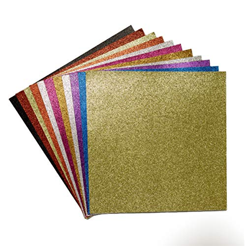 YZH Crafts Glitter Cardstock Paper,No-Shed Shimmer Glitter Paper,Crafting Assorted Glitter Paper Pad 12 Inch by 12 Inch 12 Sheets,250GSM, (Mix B)