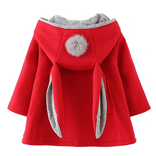 Urtrend Baby Girl's Toddler Fall Winter Coat Jacket Outerwear Ears Hoodie(6,Red)