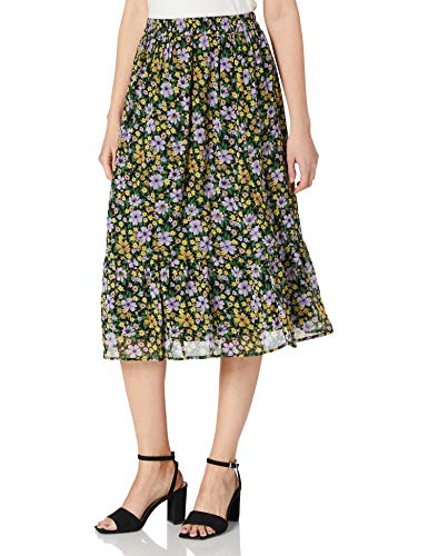 PIECES Pcviana HW Midi Skirt D2d Falda, Negro 1, XS para Mujer