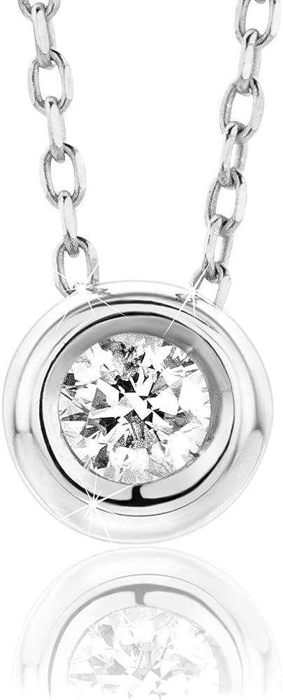 Orovi, collana per donna,in oro bianco 9 kt(1,27 gr),con cinodolo,con diamante taglio brillante ct 0.10 OR72319N