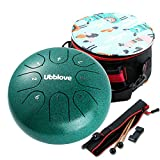 Steel Tongue Drum,Meditation Drums 6 inches 8 Notes,Musical Mind Healing Drum Percussion Instrument with Drum Mallets and Carry Bag,Great Gift for Beginner Adult Kid. (Green 6 inch)