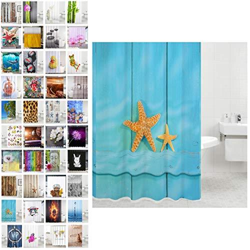 Duschvorhang, viele schöne Duschvorhänge zur Auswahl, hochwertige Qualität, inkl. 12 Ringe, wasserdicht, Anti-Schimmel-Effekt (Starfish, 180 x 180 cm)
