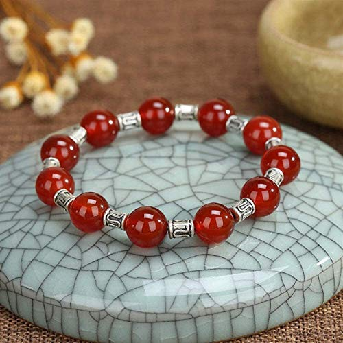 Plztou Stone Bracelet Women,7 Chakra Natural Stone Beads Red Agate Elastic Bangle Silver Decoration Jewelry Yoga Energy Reiki Pray Charm Diffuser Gift For Couple