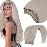 Hetto Bundles Human Hair Tressen 12 Zoll Naturlich Weave in Extensions Blond Echthaar Tressen Remy Weave on Human Hair Bundles Platinblond #60 70g