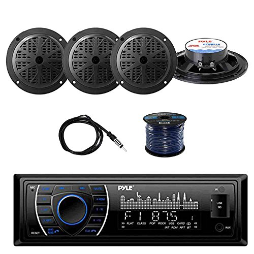 Pyle PLRMR27BTB Marine Bluetooth Receiver Stereo(Black) w/Pyle 100W 5.25'' 2-Way Marine Speakers(2-Pairs), Enrock Marine Antenna & Enrock Marine 50' 16G Speaker Wire