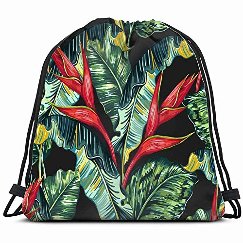 DHNKW Tropical Hawaiian Flowers Palm Leaves Jungle Backgrounds Textures Tropic Nature Drawstring Backpack Bag Men & Women Sport Gym Bag