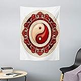 ABAKUHAUS Ying Yang Tapiz de Pared y Cubrecama Suave, Cultural Tradicional, No se Desliza de la Cama, 110 x 150 cm, Crema Maroon Blanco