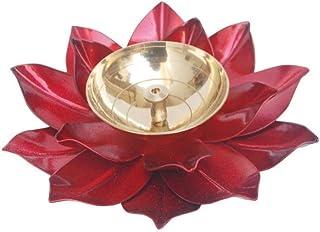 """SS Creations Diya Puja Oil Lamp - Traditional Lotus Kamal Diya for Diwali - Brass & Iron Akhand Diya Jyot Deepak - Diya Stand for Puja Home Temple Pooja Articles Decor / 5"""" X 1.75"""""""