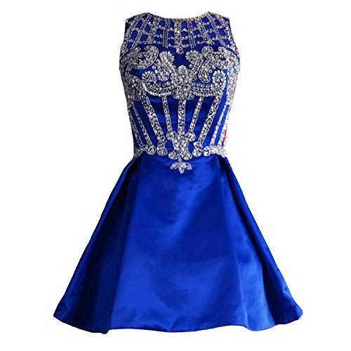 Lemai Short Backless Beaded Crystals Prom Dress Sheer Homecoming Evening Gowns Royal Blue US 2 (Apparel)