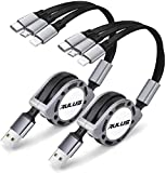 2 Pack Rulus 4Ft 3.0A Retractable Multi USB Charger Cord, Multiple Charging Cable 3-in-1 USB Charge Cord with Phone/Type C/Micro USB Connector for Phone/Galaxy S9/S8/S7/Huawei and More (Gray)