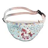 VALICLUD Unicorn Sequin Riñonera Reversible Riñonera Viaje Al Aire Libre Crossbody Chest Bag Fashion Belt Bum Bag for Women Girl
