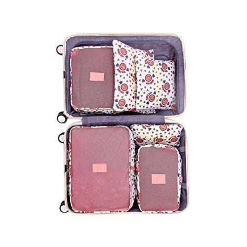 Mabor Bolsa de almacenamiento organizador de equipaje, portátil, duradero, impermeable, suministros para el hogar, ropa, viajes, familia, flores, juego de 6 unidades