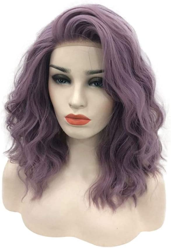 Venhoy Wigs Full-Hand Woven Fashion Challenge the lowest price Wig Max 83% OFF Short Purple Lady Curly