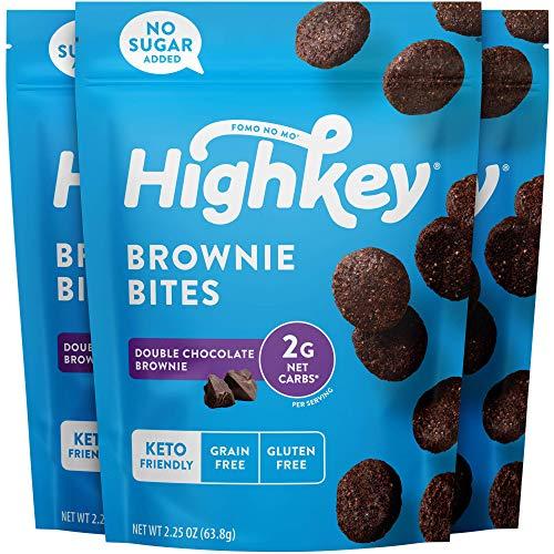 HighKey Snacks Keto Low Carb Food Chocolate Brownie Cookie Bites - Paleo, Diabetic Diet Friendly - Gluten Free, Low Sugar Dessert Treats & Sweets & Ketogenic Products Healthy Protein Brownies, Pack of 3 (Package may vary)