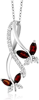 925 Sterling Silver Red Garnet Butterfly Infinity Pendant Necklace, 1.21 Ct Marquise Cut Gemstone Birthstone with 18 Inch Silver Chain