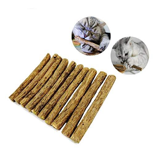 Aitsite10本猫歯ぎしり棒噛むスティックまたたびの木天然安全100%無添加おもちゃ肥満解消歯のクリーニングスティックストレス解消