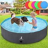 Wimypet Piscina Mascotas, Piscina Perros, Bañera Plegable para Niños/Perros/Gatos, Plegable Piscina de Baño al Aire Libre - Gris (160 x 30CM)