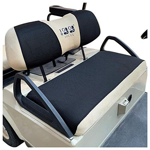 10L0L Golf Cart Seat Cover Set Fit for Club Car DS Precedent & Yamaha, Warm Bench Seat Covers for Cold Winter Weather, Breathable Washable Polyester Mesh Cloth Gray Black Beige Red Blue-Large