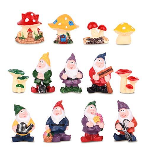 VAINECHEY Feengarten Set Figur Outdoor Decor Miniature Fairy Garden Farbenfreudig Mikrolandschaft Zubehör Miniaturgarten für Bonsai DIY Tiere Pilze Igel Mini Decoration Geschenk