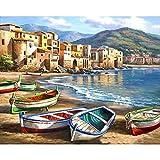 Pintura por números Pintura de paisaje para colorear Cuadro de lienzo Pintura al óleo por número Mar Pintado a mano Adultos Decoración del hogar W4 40x50cm