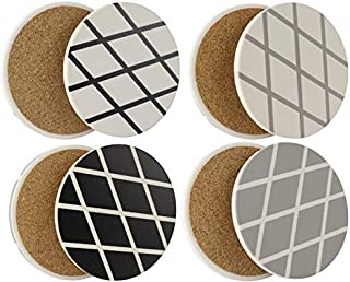 Coasters for Drinks   Absorbent Ceramic Stone   Set of 4   Cork Back, Protects Furniture (Mixed)