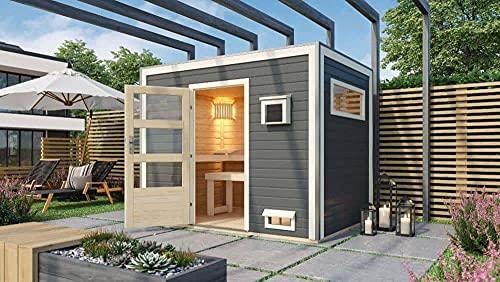 FinnTherm Saunahaus Chill aus Holz Gartensauna mit 38 mm Wandstärke Sauna Außensauna Flachdach