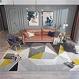 alfombra pasillo Alfombra amarilla, patrón geométrico, patrón triangular, fácil de aspirar, transpirable, fácil de limpiar, alfombra antibacteriana alfombras de pasillo modernas -amarillo_Los 80x120cm
