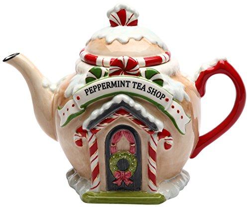COSMOS 10936Regali di Babbo Natale Villaggio teiera in Ceramica, 7–1/10,2cm
