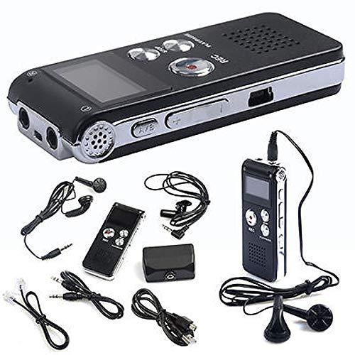 YUEKUN Digitales Diktiergerät, 8GB Digitaler Voice Recorder, Audio Aufnahmegerät mit Spracherkennung für Interviews Meetings, USB, Wiederaufladbar Schwarz