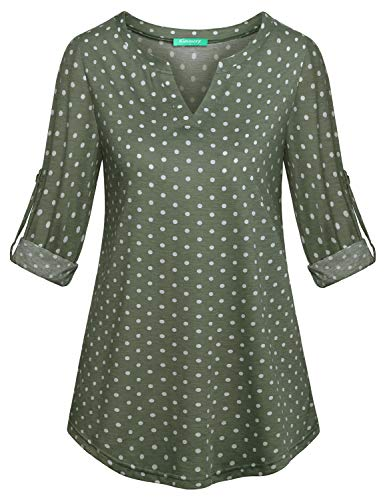 connche Kimmery V Neck Blouses Women, Zulily Tunics for Ladies 3/4 Sleeve Lightweight Cute Shirts Pretty Beauty Swing Henleys Pattern Shirt Breathable Clothes Polka Dots-Green M