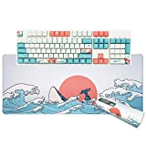 Custom Keycaps and Gaming Mouse Pad Set, Upgrade OEM Profile Keycaps Keyset Dye Sublimation Keycap Set & Large Mouse Pad, Desk Mat, Keyboard Pad(27.6''x11.8'') Kit for Windows PC Gamer (Coral Sea)