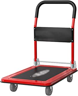 Hand Trucks Hand Truck Foldable And Portable Platform Trucks, Heavy-duty 4 Large Wheel Trolley, Thickened Non-slip Mute Ou...