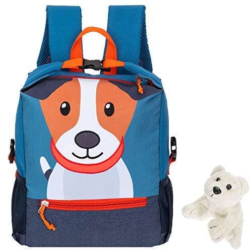 Fabrizio Rucksack Kinder Jungen Mädchen PET Recycling Kinderrucksack Katze, Tiger oder Hund Kindergartenrucksack + Eisbär-Anhänger (Hund Fiete)