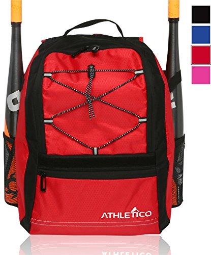 Athletico Youth Baseball Bat Bag - Backpack for Baseball, T-Ball & Softball Equipment & Gear | Holds Bat, Helmet, & Glove | Fence Hook (Red)