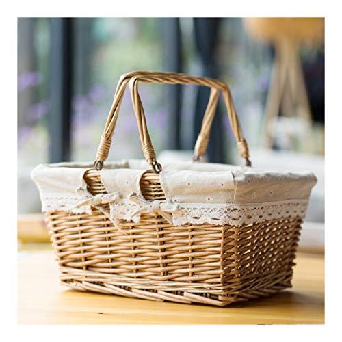 xiaokeai Bread basket Rattan Double Ring Portable Pastoral Bread Basket Storage Basket Fruit Basket Bread Box Spring Outing Picnic Basket Rattan basket (Color : B)